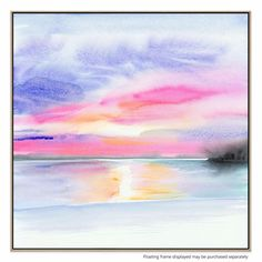 Utilising a captivating, water colour look and a rich range of tones to create the image of a beach sunset, this timeless print is a lush feature for your living room, bedroom or office.