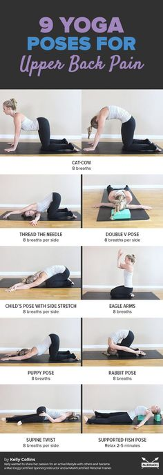 Suffering from upper back pain? Try these yoga poses to stretch away the discomf. - Suffering from upper back pain? Try these yoga poses to stretch away the discomfort. Get all stretc - Yoga Fitness, Fitness Workouts, Health Fitness, Health Diet, Health Yoga, Fitness Quotes, Physical Fitness, Fitness Diet, Yoga Positionen