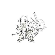 Geometric Charmander Charizard Tattoo, Pokemon Tattoo, Geometric Drawing, Geometric Art, Pokemon Sleeves, Animal Drawings, Art Drawings, Sharpie Art, Pintura Country