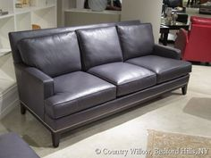 gray leather sofa- Country Willow Furniture