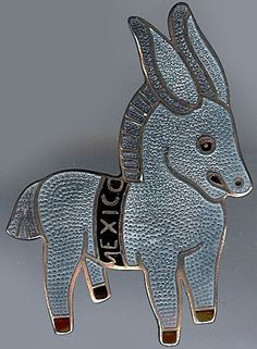 MARGOT DE TAXCO MEXICO VINTAGE STERLING BLUE GRAY ENAMEL DONKEY BURRO PIN in Jewelry & Watches   eBay