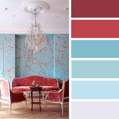 100 Color Inspiration Schemes : Turquoise + Cardinal Red Color palette #color #palette #colorpalette