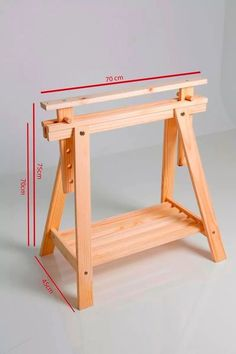 cavalete madeira pra mesa escritorio com regulagem de altura Easy Woodworking Projects, Diy Wood Projects, Wood Crafts, Woodworking Plans, Woodworking Shop, Folding Sawhorse, Sawhorse Plans, Adjustable Sawhorse, Wooden Easel