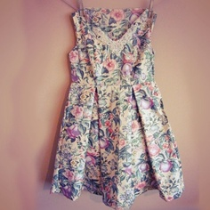 Size 12 floral pleated dress hand beaded with by missrachelholly, £55.00