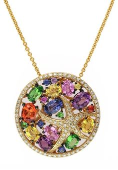 Effy Watercolors 14K Yellow Gold Multi Sapphire & Diamond Pendant