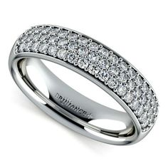 "Take that Big Day glamour to new heights with a forever symbol that's guaranteed to last generations... Say ""I Do"" to the Three Row Pave Diamond Wedding Ring in sturdy Platinum!  http://blog.brilliance.com/featured-products/three-row-pave-diamond-wedding-ring-in-platinum"