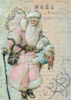 Pink Noel french Santa Roses Large digital download ECS buy 3 get one free