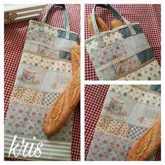 EL PATCHWORK DE KRIS: BOLSA DE PAN Y LIBRETA DE RECETAS Bread Bags, Patches, Reusable Tote Bags, Quilts, Sewing, How To Make, Baguette, Blog, Diy Clutch