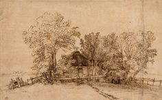 Rembrandt (Rembrandt van Rijn) (Dutch,1606–1669), Cottage among Trees, ca. 1650. Pen and brown ink, brush and brown wash, on paper washed with brown, 17.1 x 27.6 cm, New York, The Metropolitan Museum of Art