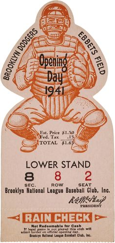 1941 Brooklyn Dodgers Opening Day Ticket Stub.... Baseball | Lot #81863 | Heritage Auctions