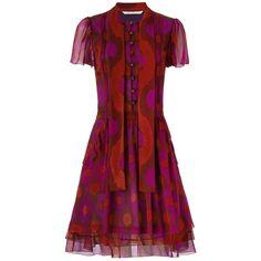 DVF Marisa Chiffon Dress ($448) ❤ liked on Polyvore featuring dresses, diane von furstenberg, boho chic dresses, bohemian chiffon dress, bohemian style dresses and puff sleeve dress