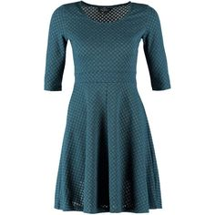 Dorothy Perkins Jumper dress teal ($26) ❤ liked on Polyvore featuring dresses, petrol, dorothy perkins, teal dress, short blue dresses, crew neck dress and blue dress