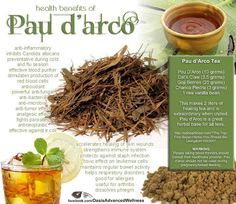 Pau d' arco - anti-inflammatory properties, can be helpful for joint pain. It's also a natural antibiotic (C. diff, H. pylori, Staph), an anti-fungal (Candida), anti-parasite (schistosoma, malaria), and anti-viral.