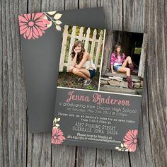 Graduation Invitation Card  Printable Custom  by SplashOfSilver, $15.00?