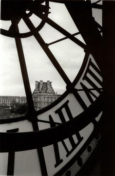 A view from behind the dial of the giant clock of the Musee d'Orsay in Paris. Through the dial one can look out across the River Seine and see the Tuileries Garden and the Louvre. The building was originally a railway station, Gare d'Orsay was built to sh Jardin Des Tuileries, Louvre Paris, Black N White Images, Tour Eiffel, Belle Photo, The Places Youll Go, Black And White Photography, Paris France, Cool Photos