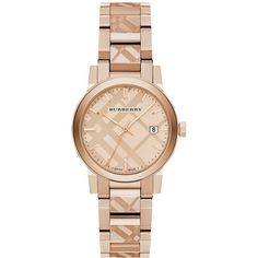 Burberry BU9146 Women's The City Date Bracelet Strap Watch, Rose Gold ($795) ❤ liked on Polyvore featuring jewelry, watches, pink gold jewelry, dial watches, red gold jewelry, polish jewelry and water resistant watches