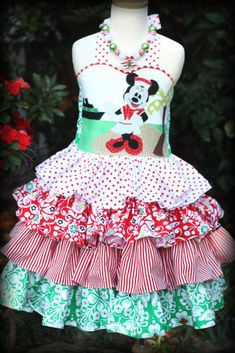 Minnie Mouse Red Green Christmas Cruise Dress by StyleDesignStudio, $230.00