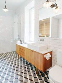 Renovation Inspiration Using Vintage Furniture as Bathroom Sink Cabinets & Consoles is part of Console cabinet Apartment Therapy - A few weeks ago, we took a look at ways to incorporate vintage furniture into your bathroom Mid Century Modern Bathroom, Modern Bathroom Tile, Bathroom Interior, Modern Bathrooms, Bathroom Vintage, Vintage Vanity, Vintage Cabinet, Vintage Tile, Bathroom Furniture