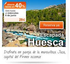 Disfruta en pareja de la maravillosa Jaca, capital del Pirineo oscense. Sólo en el Outlet de Viajar.com hasta el miércoles 6 de junio ¡Resérvalo ya! http://bit.ly/Lc5Kzt