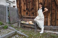 Kaeserei inTschlin im Unterengadin Plastic Aprons, Pvc Apron, Blouse, Rain Boots, Maid, Women, Womans Boot, Apron, Natural Rubber