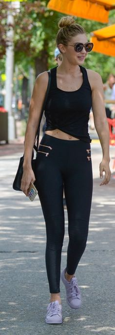 Gigi Hadid Took Her Look From Day to Night With Just 2 Pieces: Summer style inspiration – Gigi in black leggings and Adidas sneakers