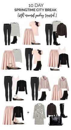 packing for a springtime city break, with limited wardrobe options. Packing list-Outfits options, Edimburg in the Spring.Springtime City Travel Capsule Wardrobe by Forever AmberI would personally switch out the coral coloured items for another colour, but Capsule Outfits, Fashion Capsule, Mode Outfits, Fashion Outfits, Packing Outfits, Packing Clothes, Travel Outfits, Fashion Games, Chic Outfits