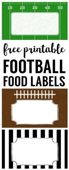 Football Food Labels free printable. DIY football party decorations for your super bow party, football team party, football birthday party, or baby shower.