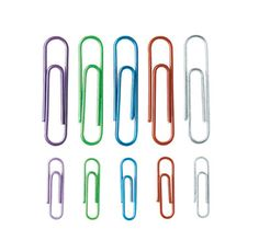 Title: Paper clips / Physical details: Assorted colors, translucent, 150 clips / Price: $2.99 from officemax.com / Keyword1: School / Keyword 2: Organization / Keyword 3: Attachment / Keyword 4: Office