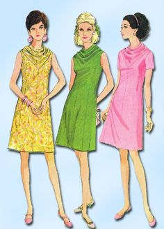 1960s Vintage McCalls Sewing Pattern 8850 Misses Mid 60s Mod Dress Size 10 31B