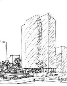 Ludwig Mies van der Rohe - One Charles Center (rendering of Helmut Jacoby), Baltimore, Maryland, USA,1961.