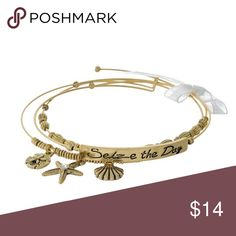 """SEIZE THE DAY' bangle bracelet set 3 piece. Gold tone adjustable bangle set featuring sea life charms and a bar stamped with ""Seize the Day"" Chic by the Beach Jewelry Bracelets"