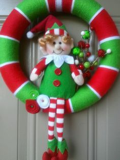 Christmas elf yarn wreath red white and green stripes