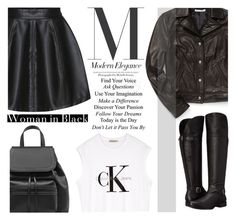 """""""Woman in Black"""" by m-zineta ❤ liked on Polyvore featuring Rebecca Minkoff, Calvin Klein and Naturalizer"""
