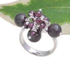 925 SOLID STERLING SILVER NEW STLISH GARNET BEEDS STONE RING 7.36g DJR3719 #Handmade #Ring