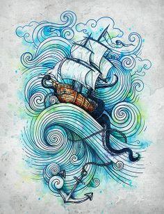 Ship, Waves, Ocean