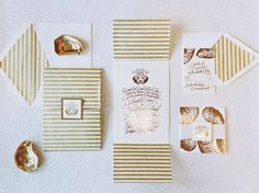 Gorgeous and Fun- Custom Striped Golden Wedding Invitations with Oysters #wedding #southernwedding #invitations