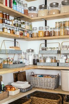 pantry: glass jars, tier trays, baskets on bottom to hide ugly appliances, etc.