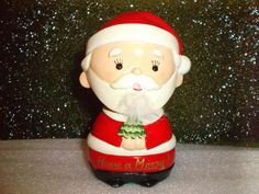 Vintage 1950's Hand Painted Ceramic Santa Bank Figurine from Lego co.