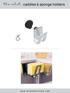A very simple sponge holder that relies on a magnet, rather than suction. It's on the pricey side, but if you're done with suction products (I have the worst luck with them…), this is for you.  #kitchenorganization #magneticspongeholder #modernkitchen #kitchensinkorganizer