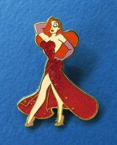 Disney Who Framed Roger Rabbit? - Jessica Rabbit in red glitter dress Pin