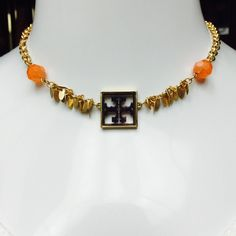 """Tory Burch Tortoise Shell Orange Beaded Necklace STUNNING! Tory Burch Tortoise Shell Square w/Orange Glass Beads Necklace with Tory Hallmark at Lobster Claw Clasp. 17"""" in Length. RETAILS $125.00 Tory Burch Jewelry Necklaces"""