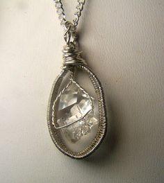Herkimer Diamond crystal  necklace pendant  by mandalarain on Etsy, $42.00
