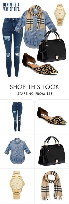 """Untitled #36"" by steph11nicole on Polyvore featuring Topshop, Steve Madden, Abercrombie & Fitch, Miu Miu, Michael Kors, Burberry, LeopardPrint, Denimondenim and mixingpatterns"