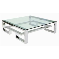 Villiers Brooklyn Coffee Table - Stainless Steel ($11,875) ❤ liked on Polyvore featuring home, furniture, tables, accent tables, coffee tables, metallic, mirrored table, stainless steel table, stainless table and word tables
