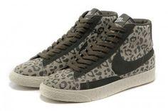 Nike Blazers High Vintage Suede Dames Schoenen Luipaard Afdrukken Leger Groen Wit