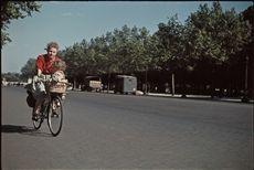 Guerre 1939-1945. Cycliste du dimanche, sur les Champs-Elysées. Paris. Photographie d'André Zucca (1897-1973), couleurs d'origine restaurées. Bibliothèque historique de la Ville de Paris.