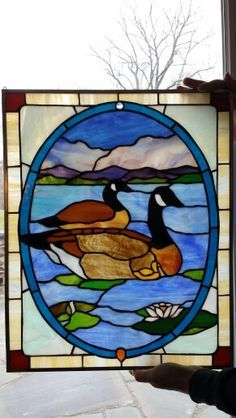 Canadian Geese stained glass panel by Anita Troisi. Beautiful panel within the…