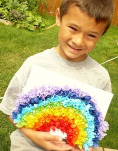 Rainbow tissue paper squares project