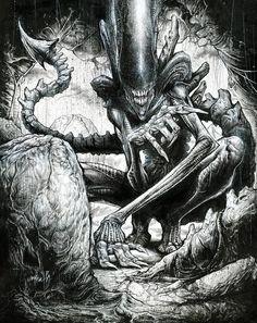 Xenomorph by Jonathan Wayshak Hr Giger Alien, Hr Giger Art, Les Aliens, Aliens Movie, Arte Alien, Alien Art, Arte Horror, Horror Art, King Kong