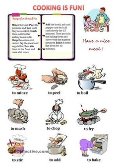 """The recipe given in the worksheet covers a wide range of """"cooking verbs"""". All the verbs are explained by means of the pictures presented below.  - ESL worksheets"""